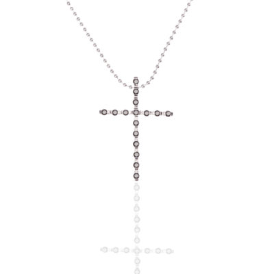 Kette Kreuz Sao Paulo 925 Silber Zirkonia Schwarz