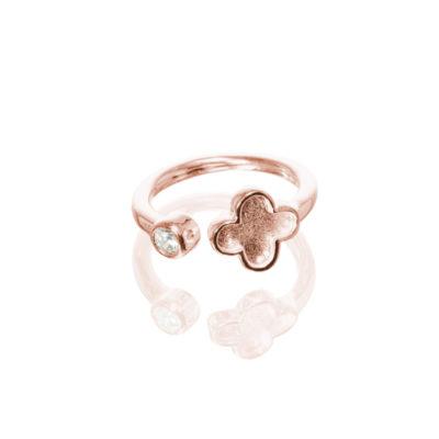 Ring Cataleya Kleeblatt 925 roségoldplattiert