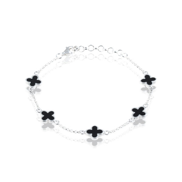 925 silber  Armband Kleeblatt NEW YORK Onyx 5er Blume 925 Silber | Mainpunkt ...