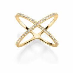 X RING XENA 925′ GOLDPLATTIERT MIT ZIRKONIA